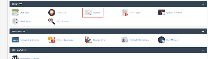 cPanel Indexes Location