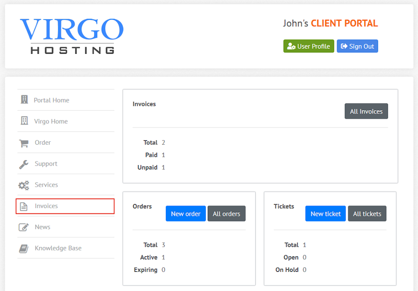 Virgo Hosting Client Portal Invoices Interface Location