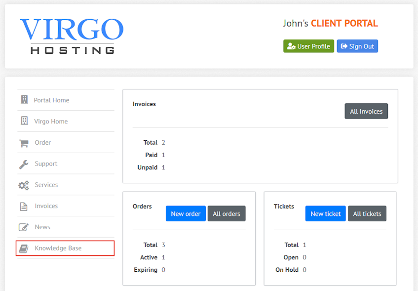 Virgo Hosting Client Portal Knowledge Base Interface Location