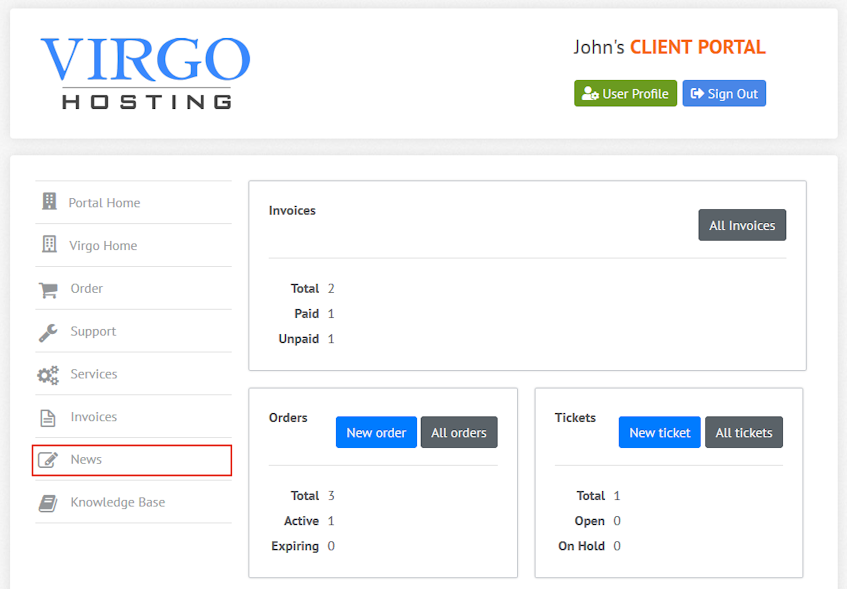 Virgo Hosting Client Portal News Interface Location