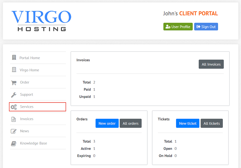Virgo Hosting Client Portal Services Interface Location