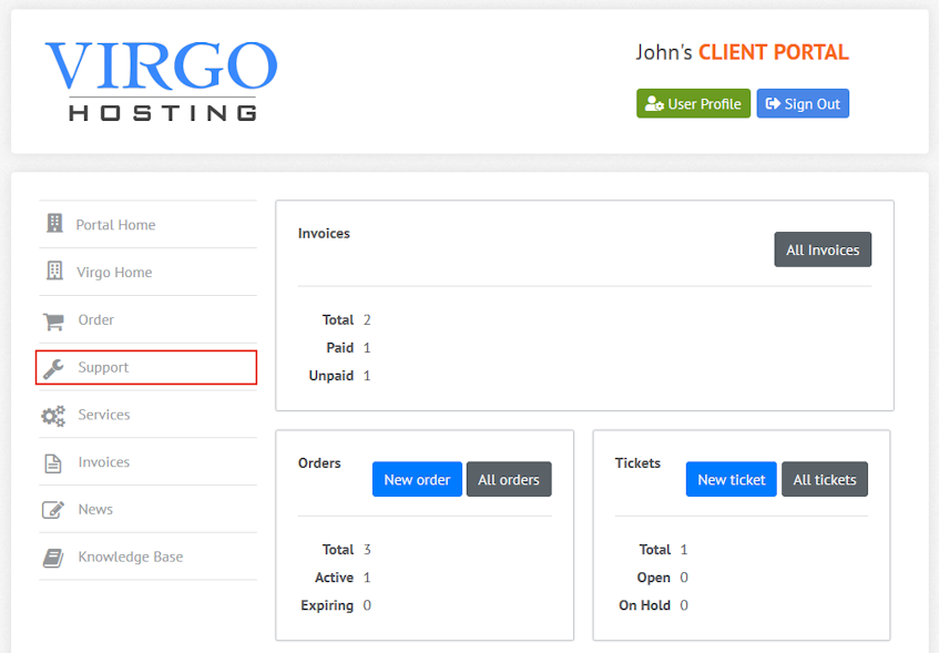 Virgo Hosting Client Portal Support Interface Location