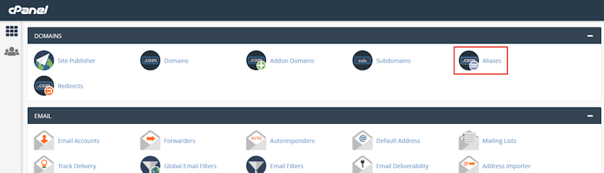 cPanel Aliases Location