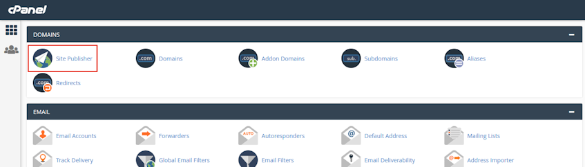 cPanel Site Publisher Location