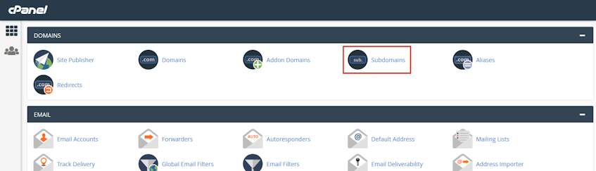 cPanel Subdomains Location