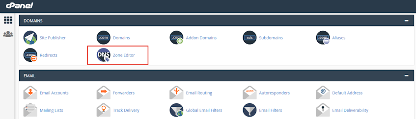 cPanel Zone Editor Location