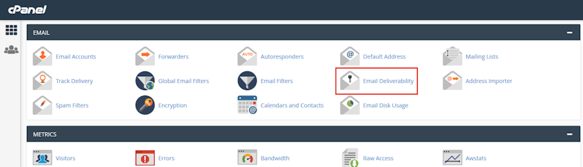 cPanel Email Deliverability Location