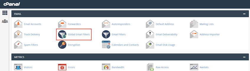 cPanel Global Email Filters Location