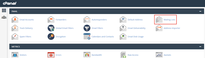 cPanel Mailing Lists Location
