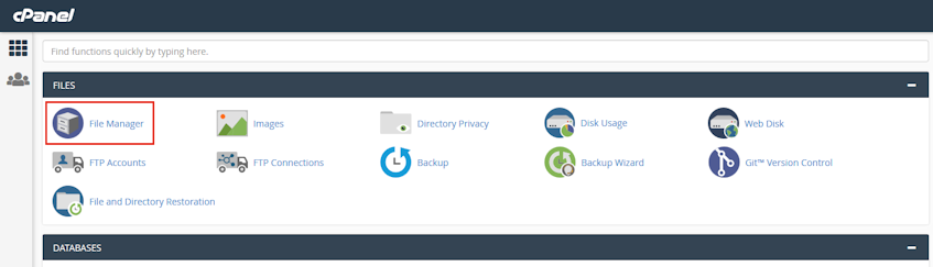 cPanel File Manager Location