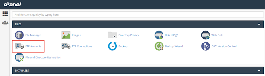 cPanel FTP Accounts Location
