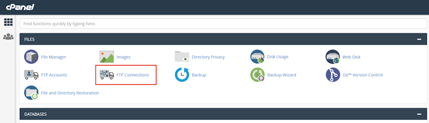 cPanel FTP Connections Location