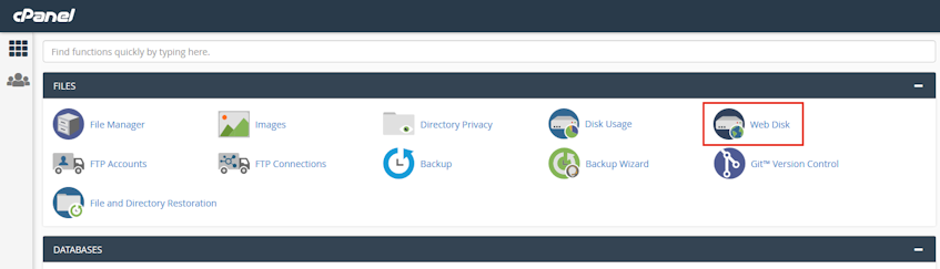 cPanel Web Disk Location