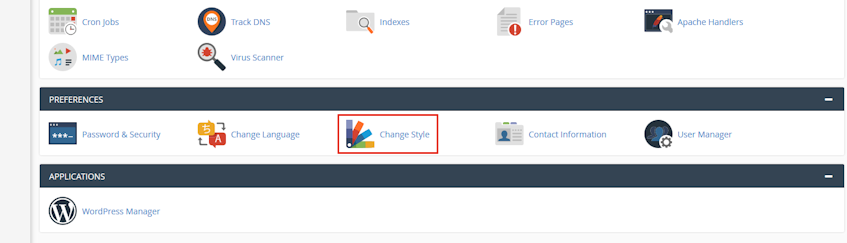 cPanel Change Style Location