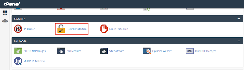 cPanel Hotlink Protection Location