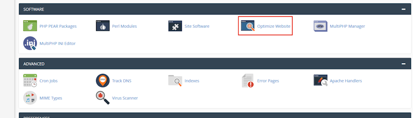 cPanel Optimize Website Location