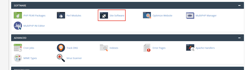 cPanel Site Software Location